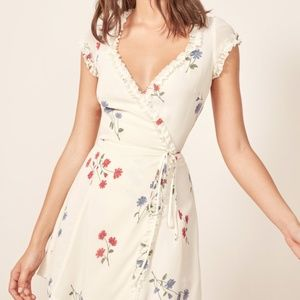 Reformation Garnet Ivory Wrap Mini Dress w/Floral